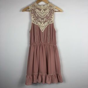 Sleeveless Pink & Cream Altar'd State Lace Dress